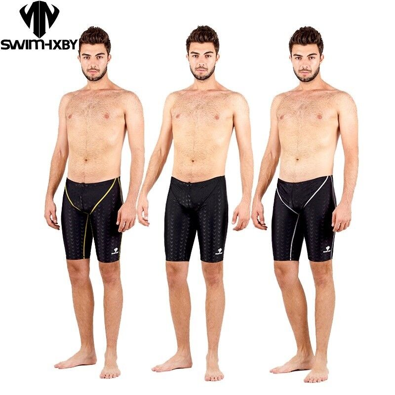 bb5a497b7b Details about HXBY Sharkskin Swimming Jammer Men Boys Swimwear Jammers  Swimsuit Board Shorts