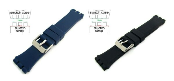 Black Blue Top Quality Rubber 19mm 22mm Strap fits Swatch Chrono Irony Sistem51