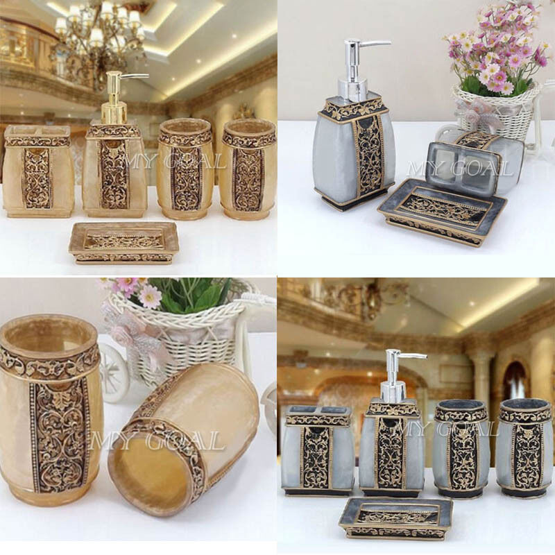 Bathroom Accessories Set 5Pcs Rome Aristocracy Bath Resin Cup Toothbrush  Holder
