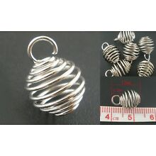 Tiny 9mm Spiral Silver Wire Bead Cage Drop Pendant Charm Diffuser Essential Oil