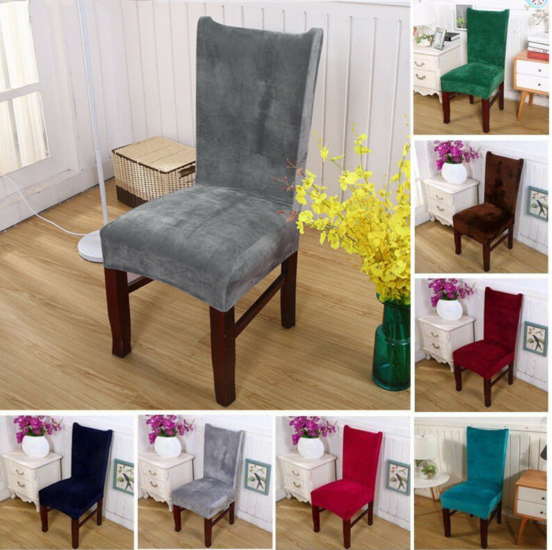 Chair Covers Removable Stretch Slipcovers Dining Room Fox Pile Fabric Seat  Soft