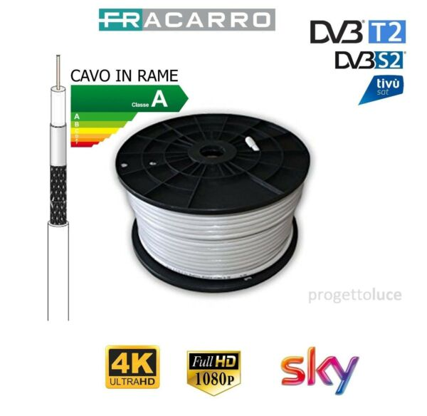 CAVO COASSIALE ANTENNA SATELLITARE  FRACARRO TV HD 5 MM RAME CLASSE A SKY DVB