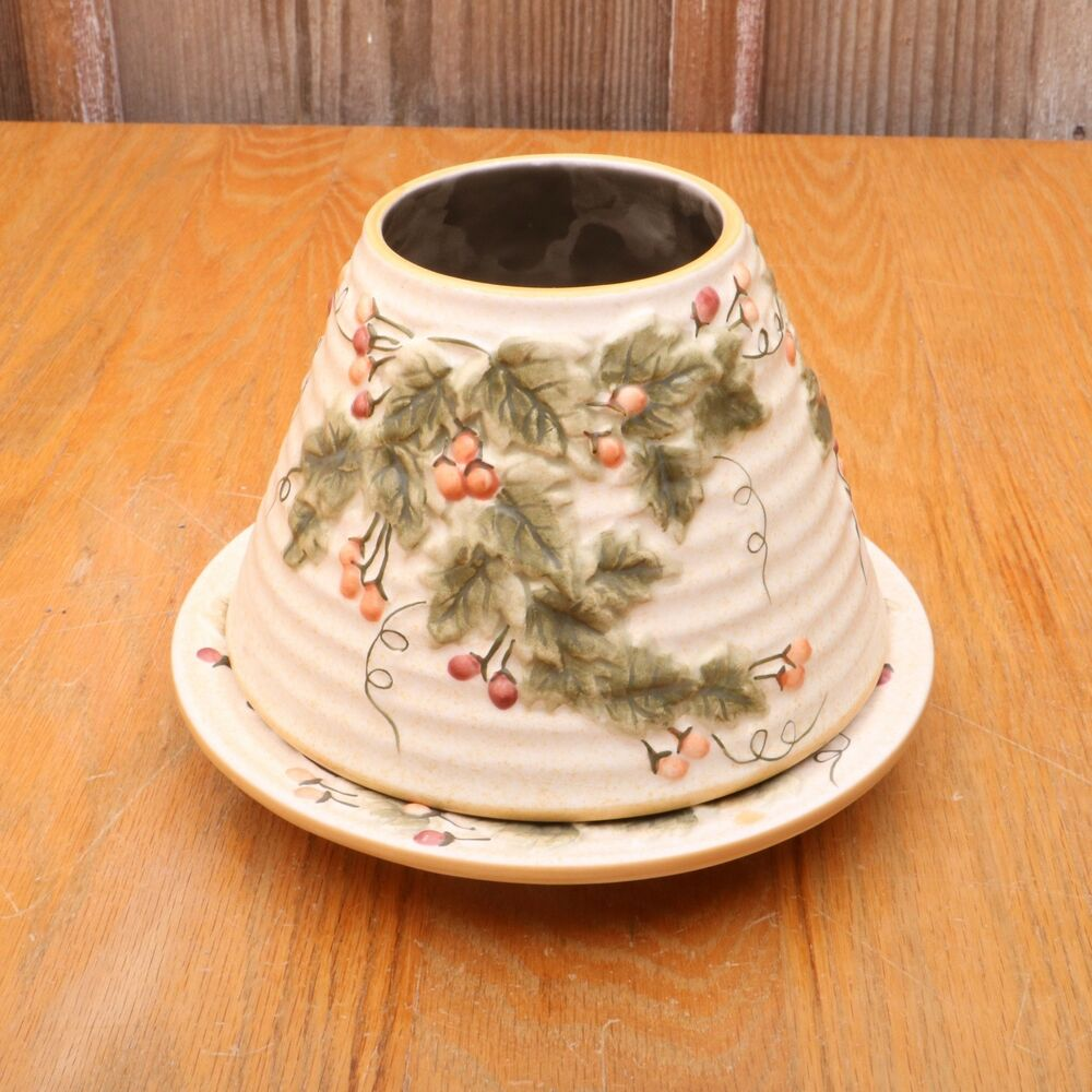Yankee Candle Large Shade and Plate Holly Berries & Leaves ...