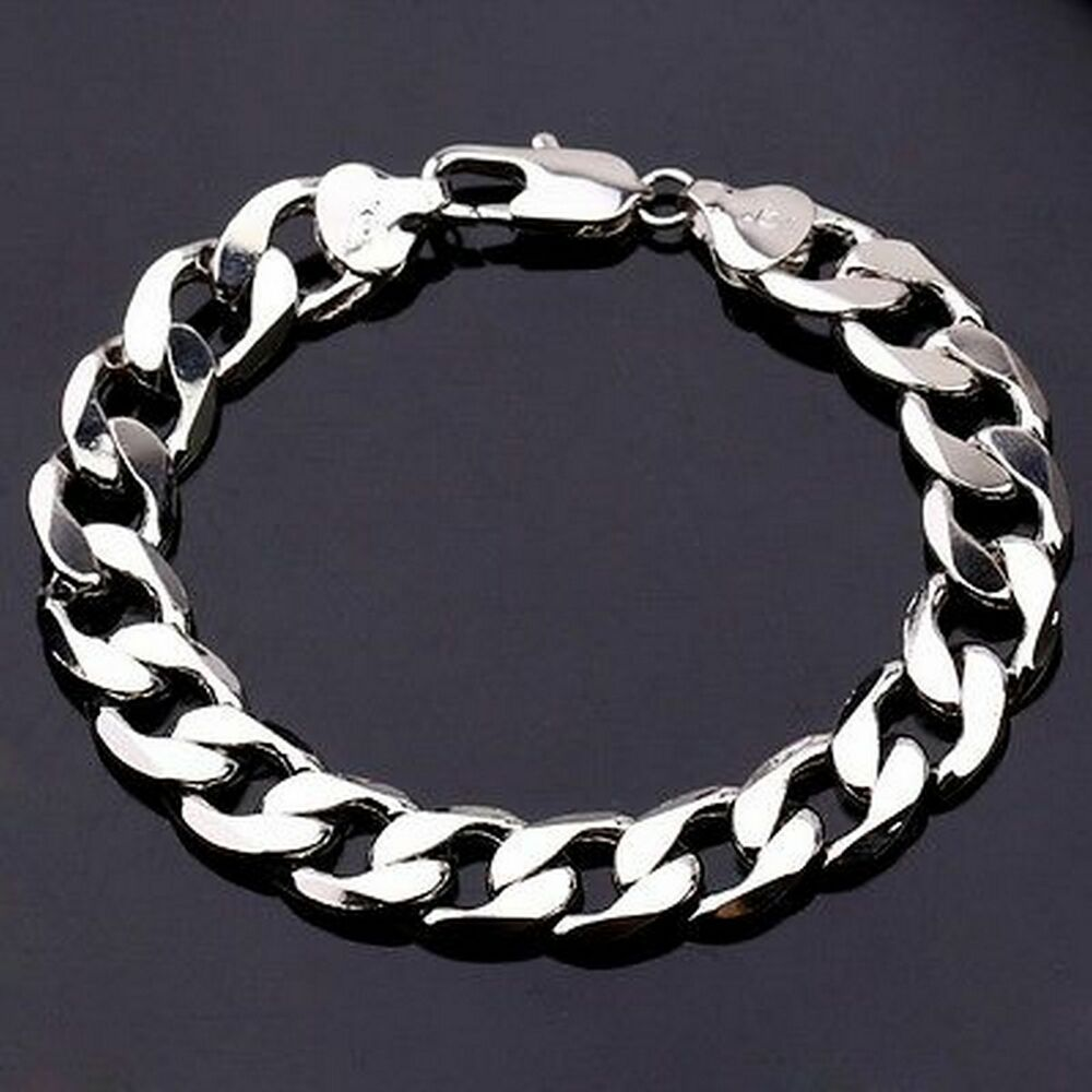 Sale 22cm 18K White Gold Plated Curb Chain Men's Bracelet