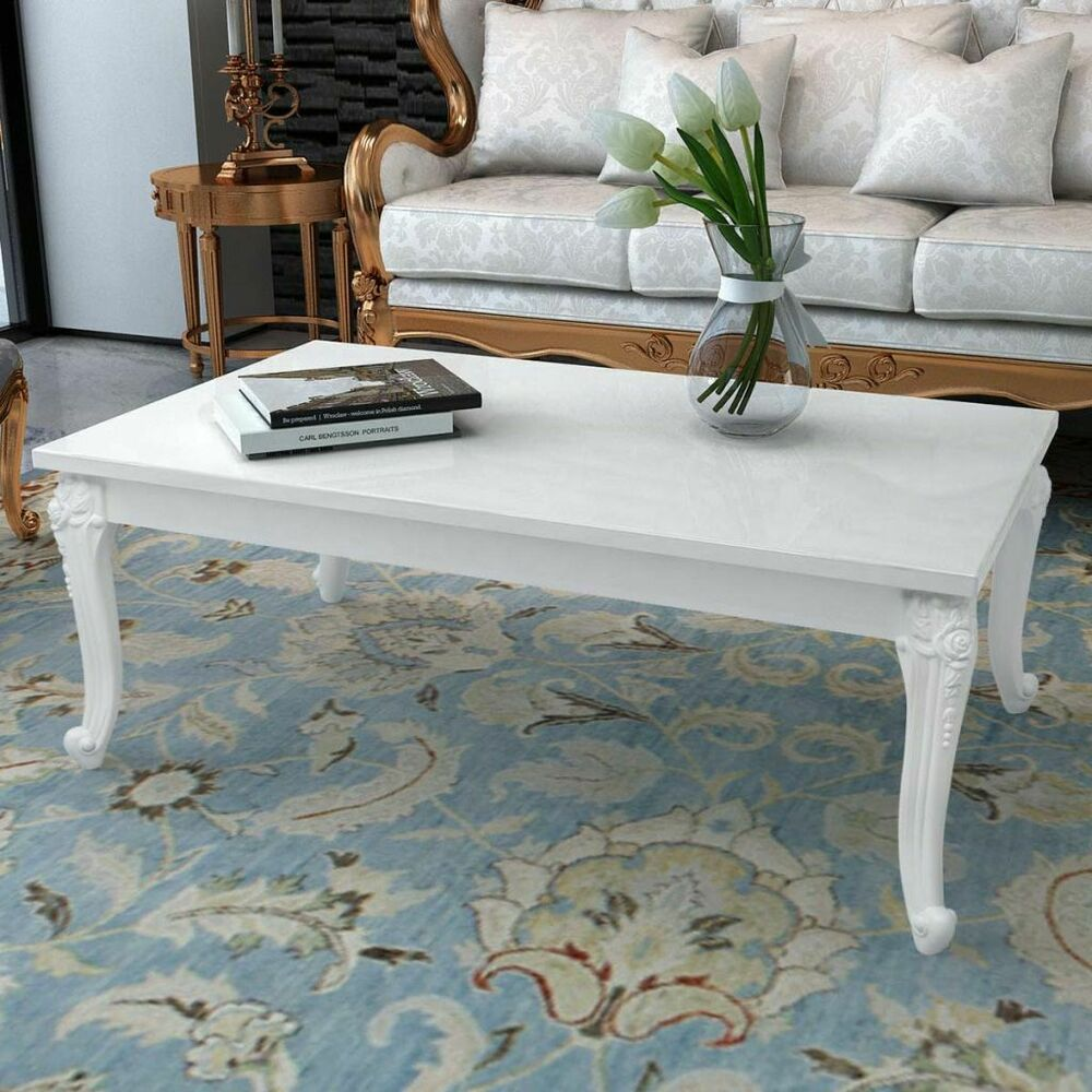 Details about vidaxl coffee side end couch table high gloss white modern design living room