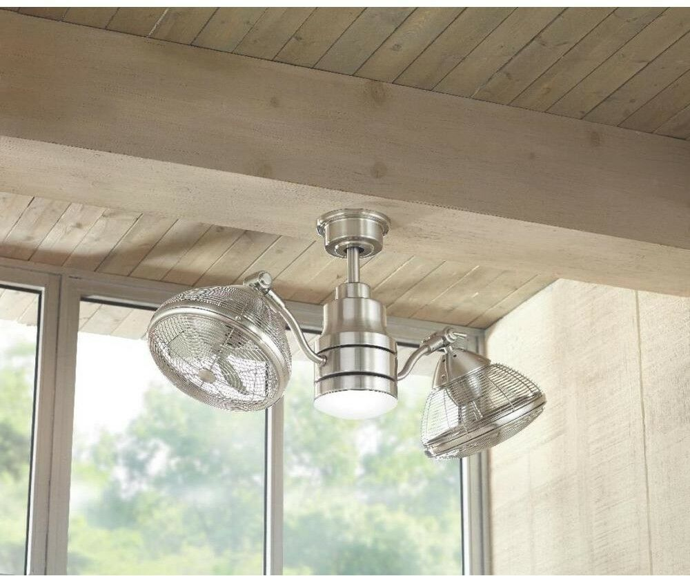 Outdoor Indoor Twin Oscillating Gyro Ceiling Fan Led Light