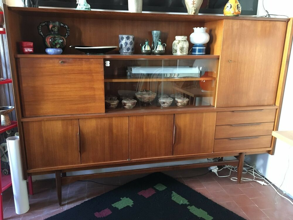 vintage buffet haut bar enfilade scandinave en teck 1960. Black Bedroom Furniture Sets. Home Design Ideas