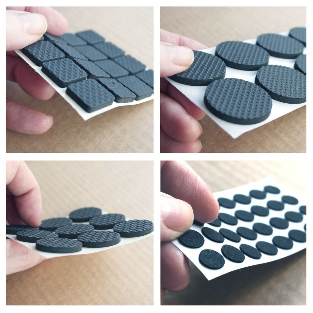 Foam Rubber Pads Floor Protector Furniture Feet Black Self