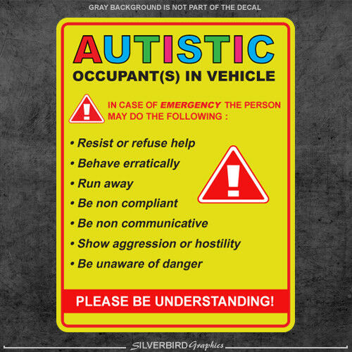 Autistic Occupant In Vehicle Sticker Decal Autism