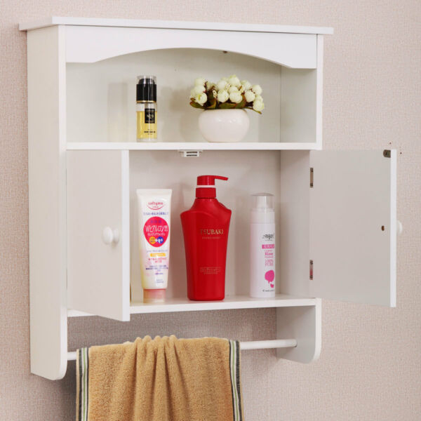 New Modern Wall Mount Bathroom Medicine Storage Cabinet Towel Shelf Toilet White