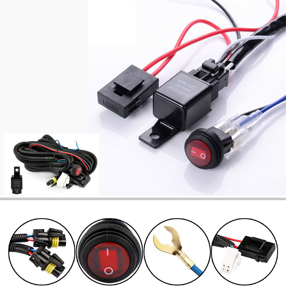 12v 40a Relay Wiring Harness Work Fog Light Bar Kit On  Off