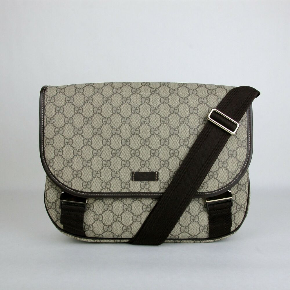ddf6afebd205 Details about Gucci Beige/Ebony GG Plus Coated Canvas Messenger Bag with 2  Buckles 201732 8588