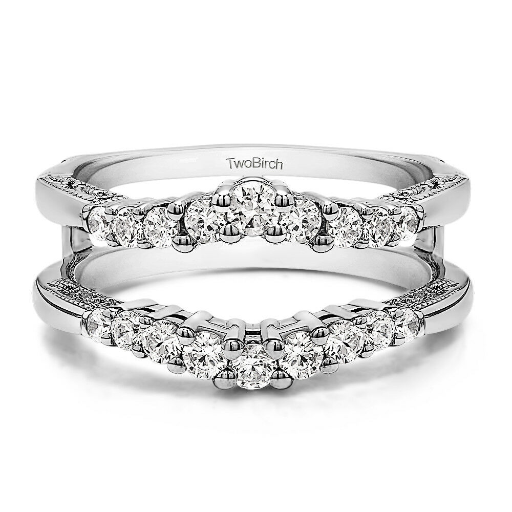 Details about Silver Vintage Ring Guard with Milgraining and Filigree  Designs (0.73tw)