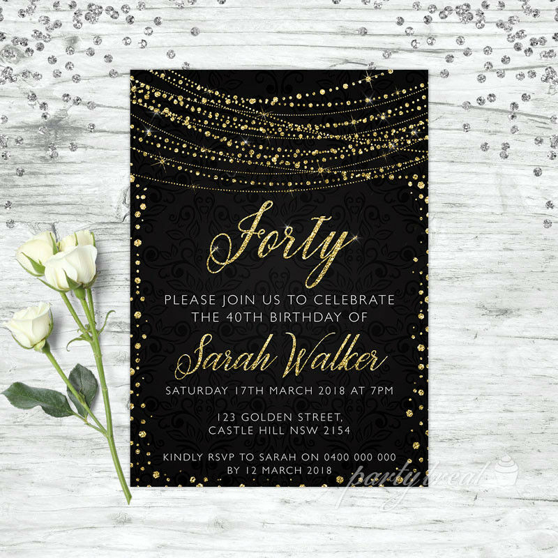 Details About 40TH BIRTHDAY INVITATIONS AGE FORTY PERSONALISED PARTY SUPPLIES INVITE GOLD