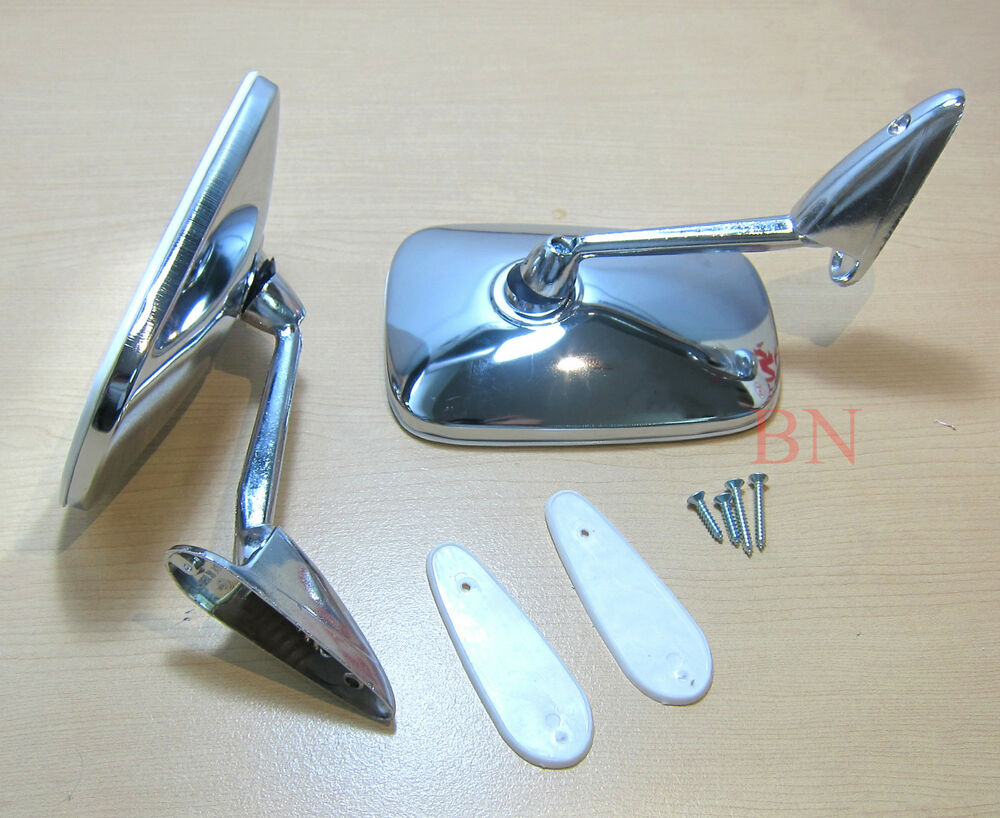 New Square Chrome Door Hot Rod Classic Car Mirrors Pair