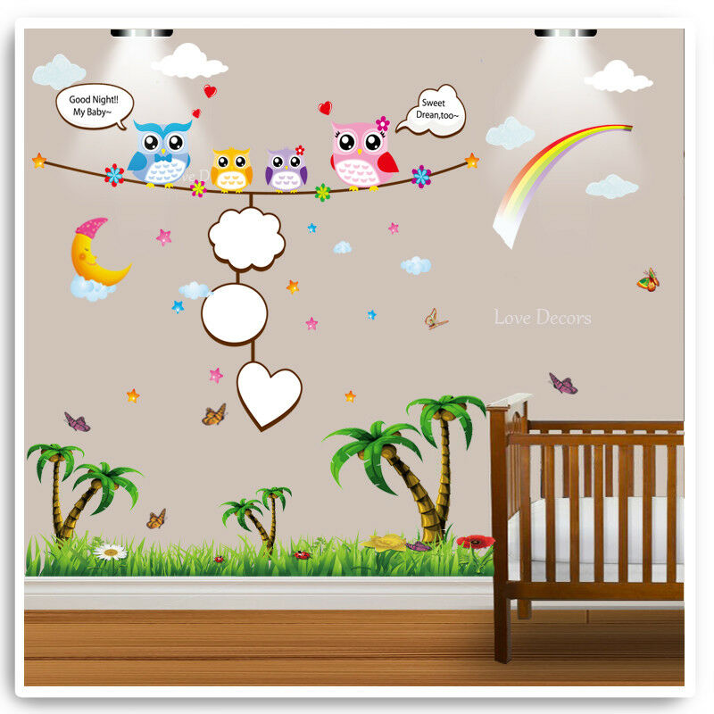 owl wall stickers animal jungle zoo nursery baby kids bedroom decal