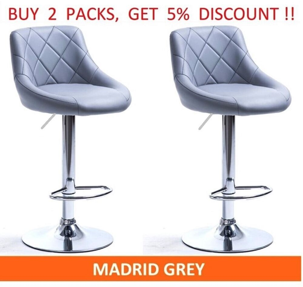 Grey Kitchen Bar Stools: 2 X GREY MADRID GAS LIFT FAUX LEATHER BAR STOOLS