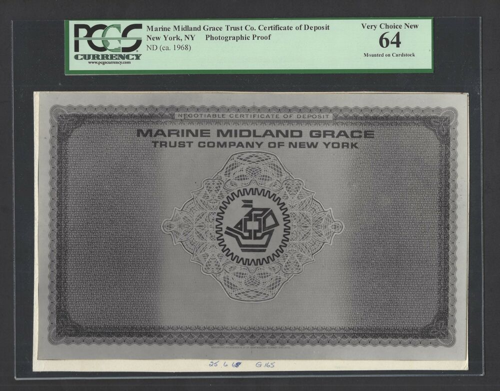 Marine Midland Grace Trust Co Certificate Of Deposit Nd1968