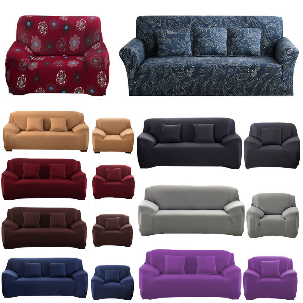 1 2 3 4 Seater Universal Stretch Sofa Covers Protector Couch Cover ...
