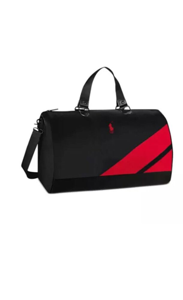 79a53aba597b26 Details about RALPH LAUREN POLO DUFFLE Red Black Gym Shoulder Travel BAG  Overnight Weekender