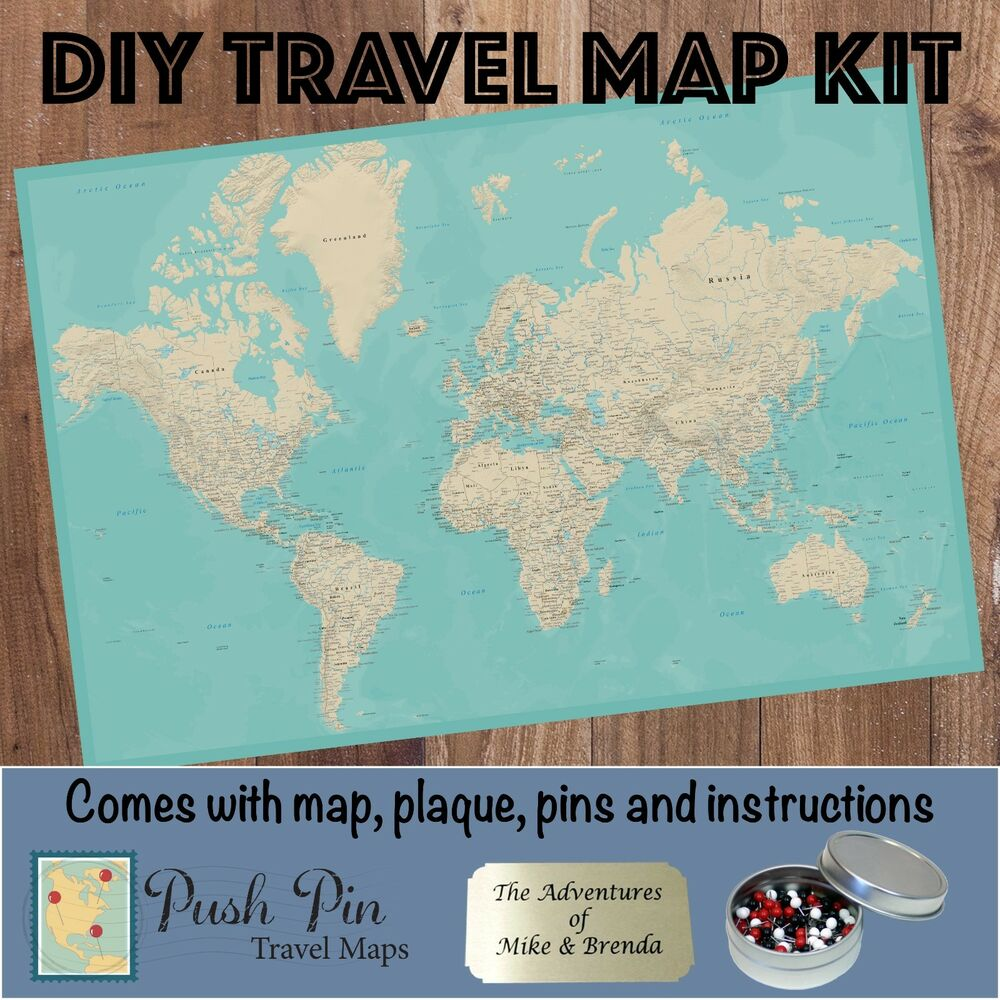 DIY Teal Dream World Push Pin Travel Map Kit | eBay