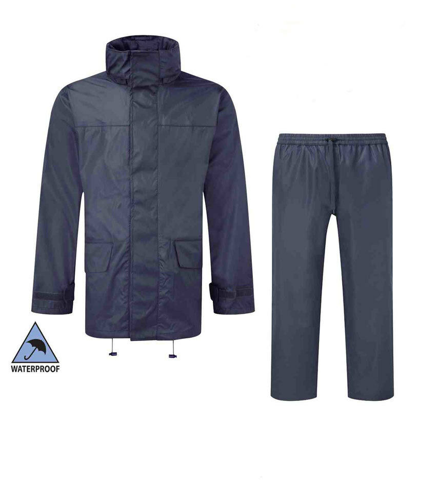 Fortress Mens Jacket Hooded   Trousers Water Resistant   WindProof in Navy  Blue  6db80ec2417d9