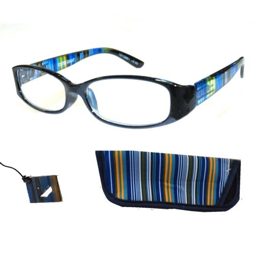 250-foster-grant-blue-rainbow-spring-hinge-reading-glasses-w-soft-case-loop-
