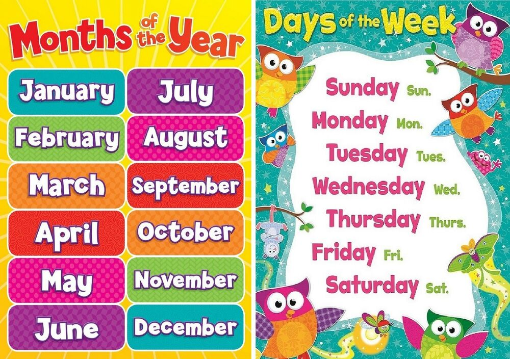 A4 Childrens Kids Todlers Months Of The Year And Days Of Week
