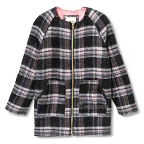 38ca0fb6b Girls Cherokee Plaid Wool Blend Pea Coat Jacket Zip NWOT C465