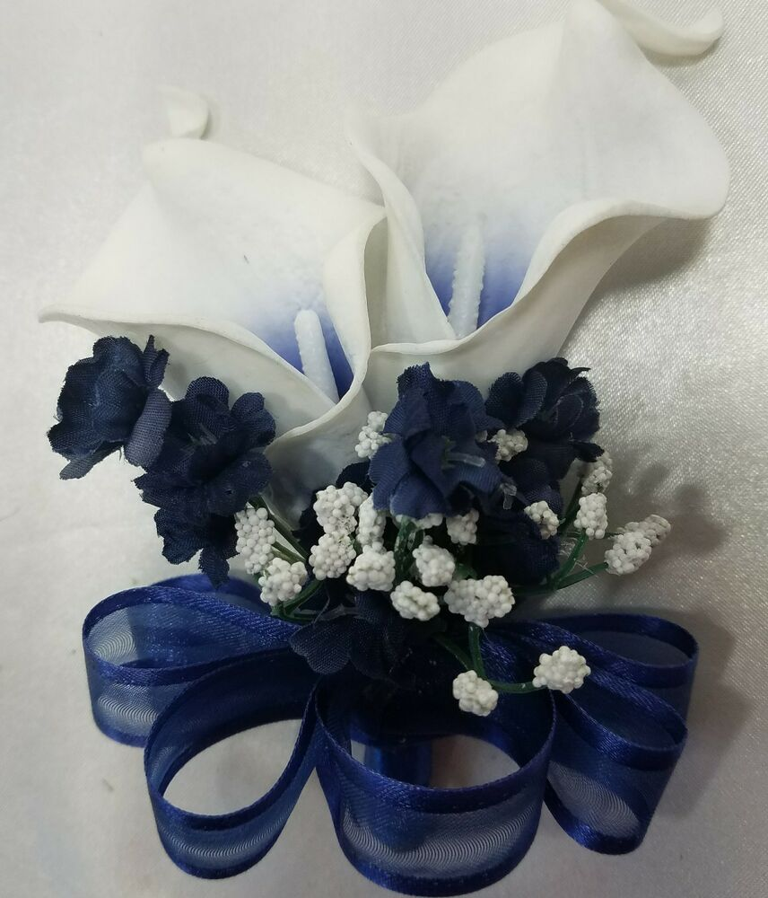 Real Vs Fake Flowers Wedding: Navy Blue Ivory Real Touch Calla Lily Corsage Or