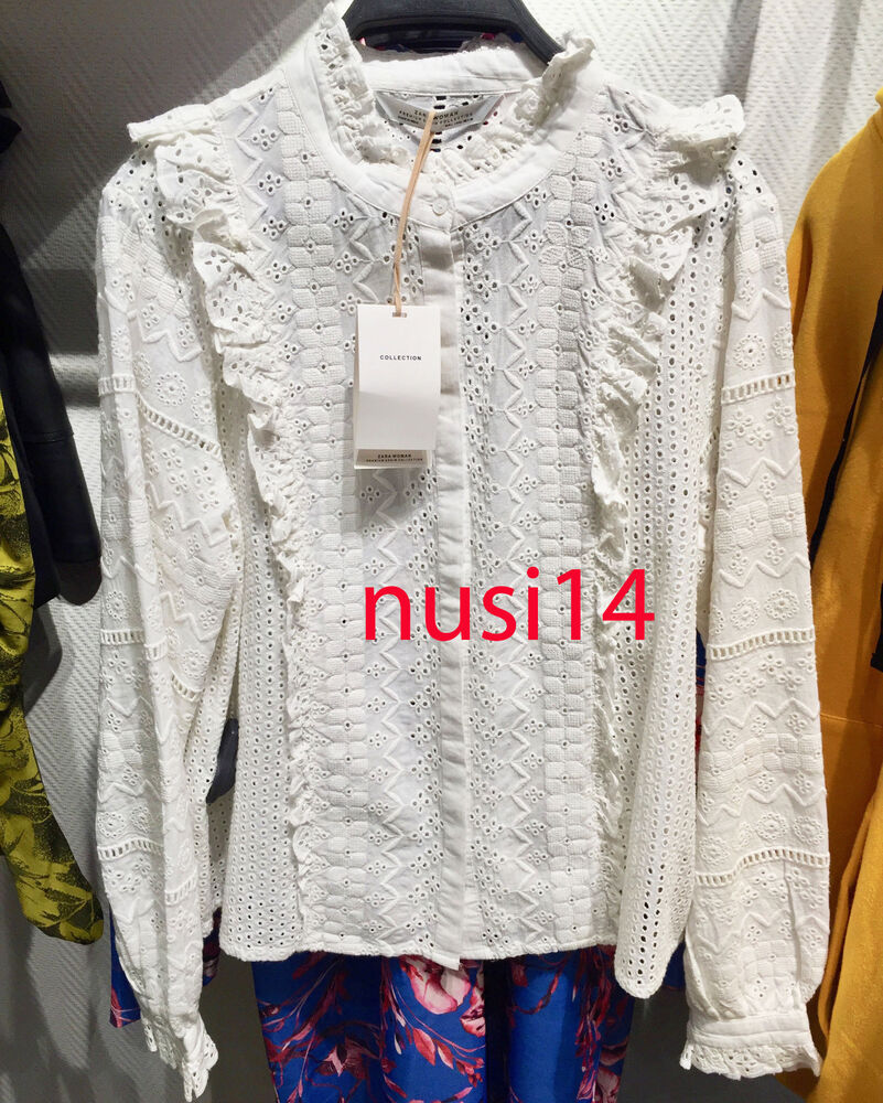 29ed032e8a2ac5 Details about ZARA NEW WOMAN EMBROIDERED SHIRT WHITE RUFFLED TOP BLOUSE XS-XL  REF. 5598 043