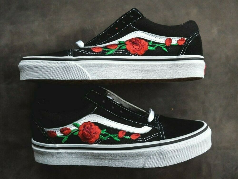 Made To Order Custom Vans Old Skool Black White Rose Embroidered Iron On  Shoes  4a4ebcb76