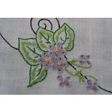 Vintage Linen Table Runner Purple Embroidered Flowers Crochet Lace