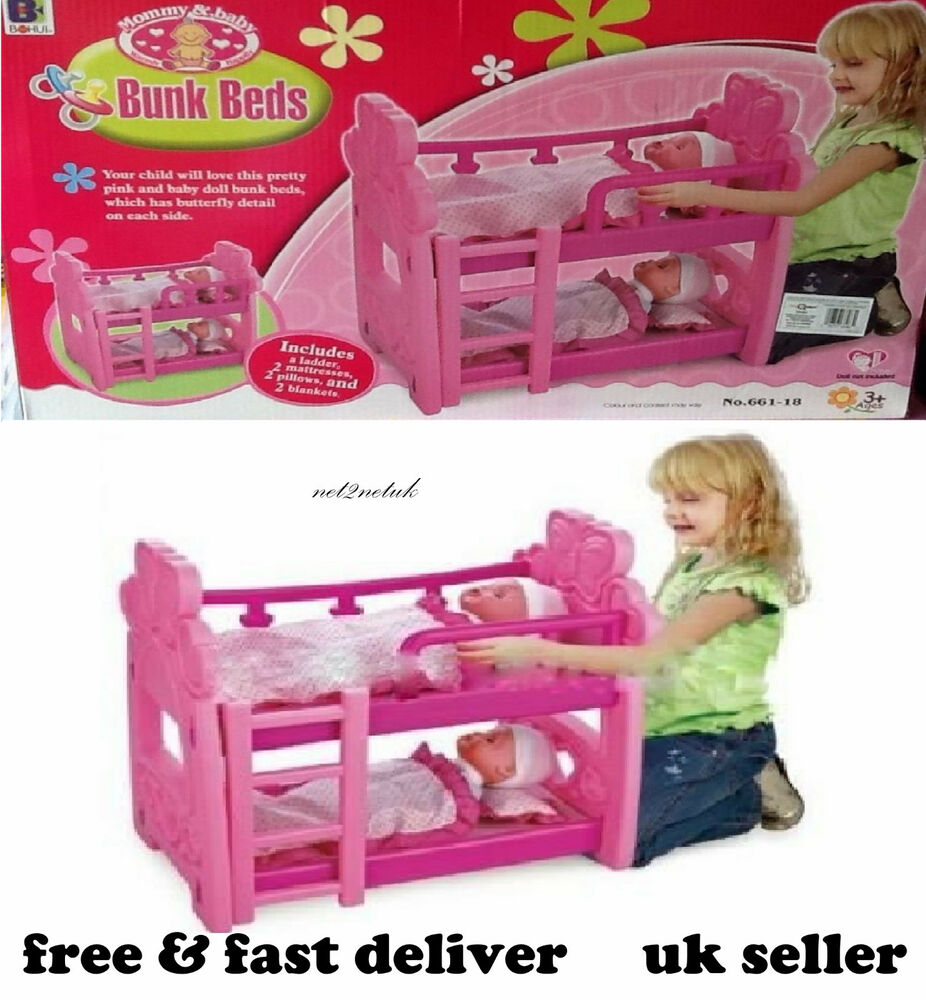 Kids Pink Double Or Single Dolls Baby Bunk Bed Toy Pillow