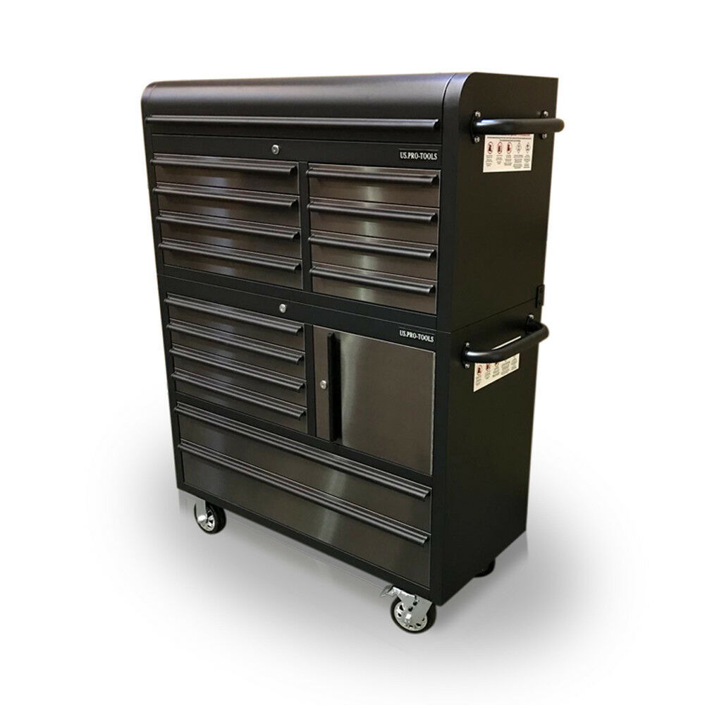 Us Pro Tools Tool Cabinet Chest Box Black Stainless Steel 41