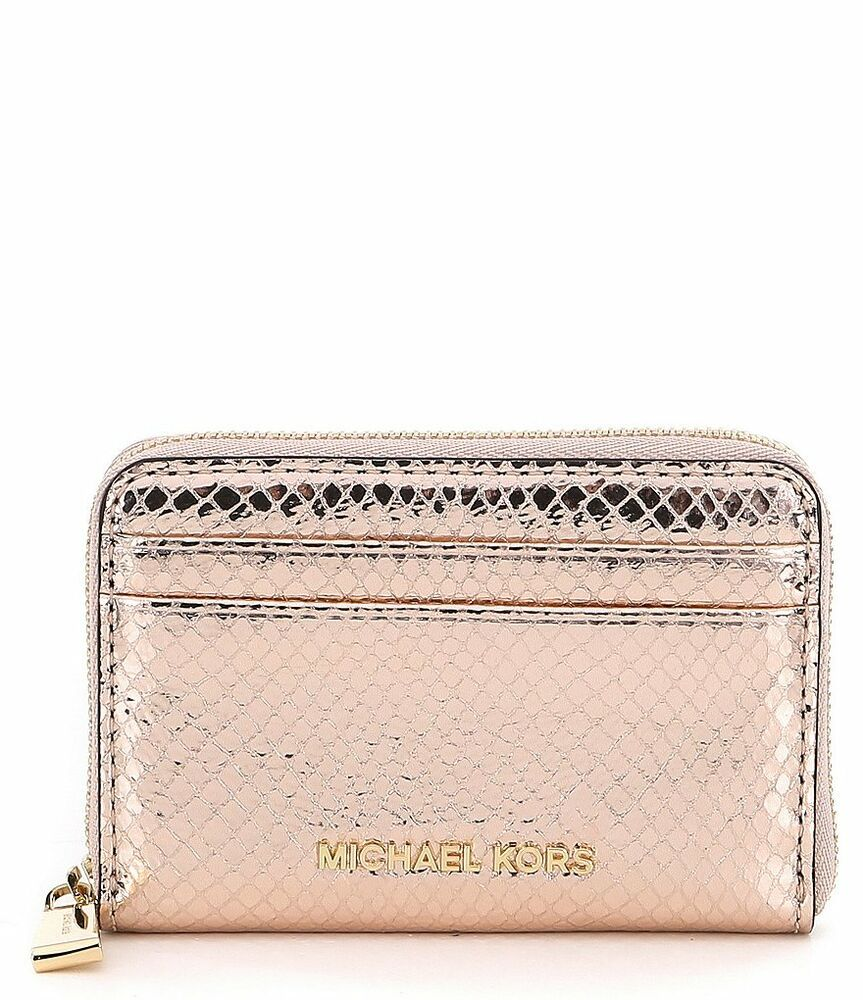 fddd47c87fa9 Details about NWT MICHAEL Michael Kors Metallic Zip-Around Za Card Case  Soft Pink Metallic