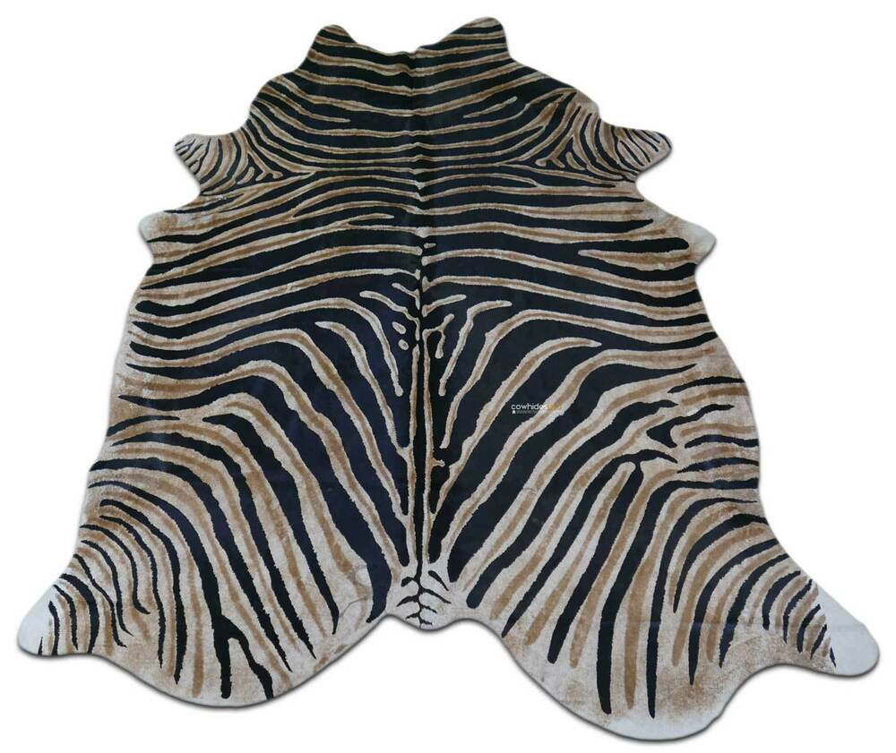 Zebra Cowhide Rug Genuine Zebra Print Cow Hide Rugs ~7.5