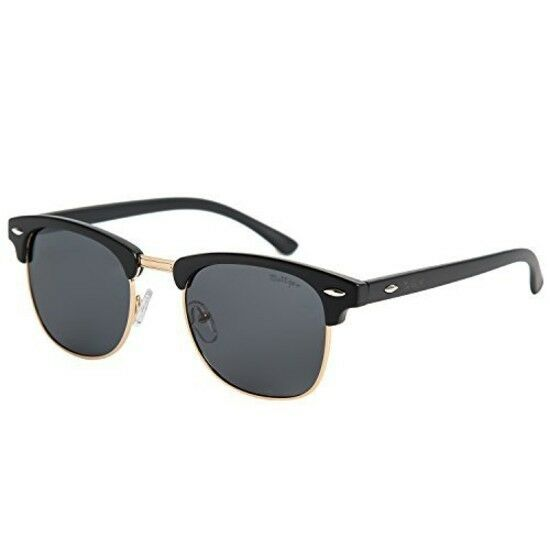 4fbb9be527 Details about Black Half Frame Polarized Clubmaster Sunglasses Men Women  Motorcycle Design