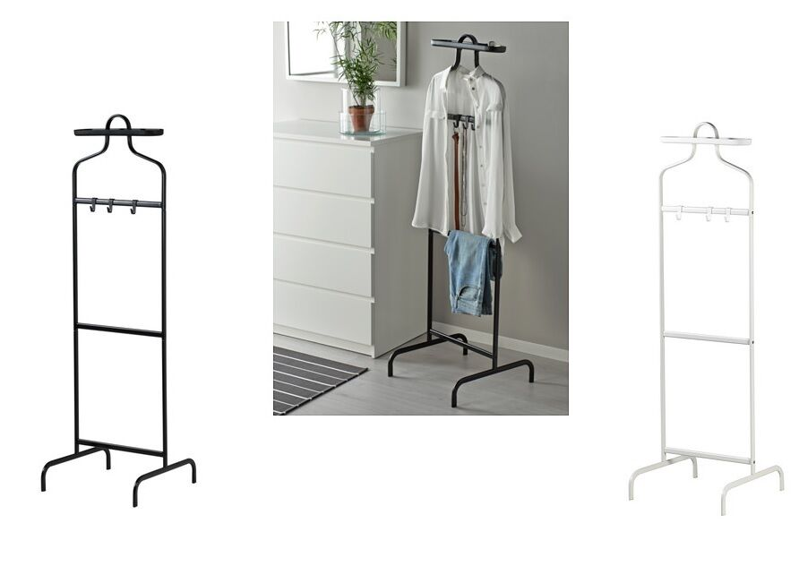 Ikea white mulig valet clothes rail display rack coat for Ikea coat rack stand