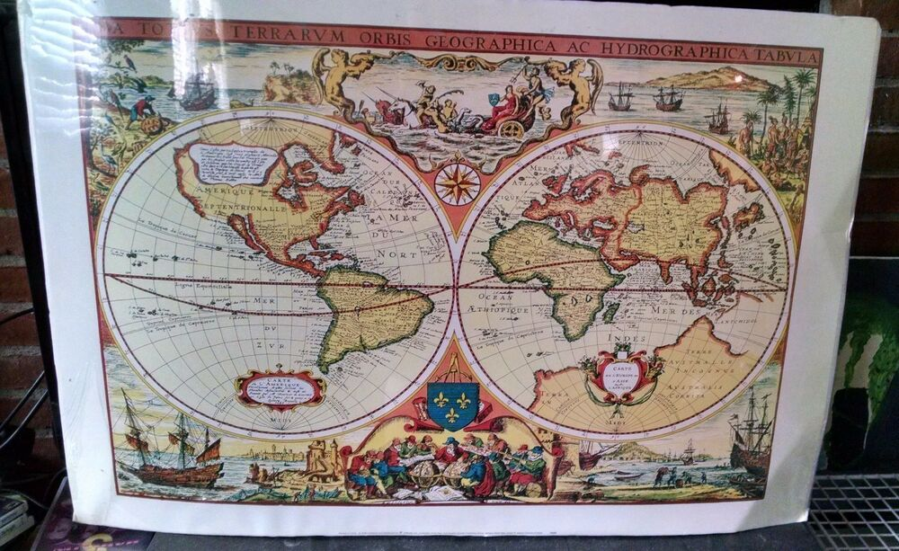 Antique look world map poster 24 x 36 new with tag antique look world map poster 24 x 36 new with tag artbeats hobbylobby ebay gumiabroncs Image collections
