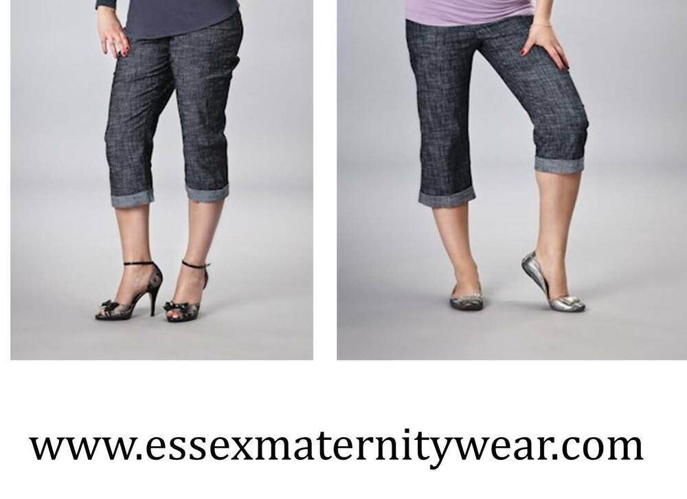 7f3921b55dd33 Details about Cropped Summer Maternity Trousers Size 10 - 16 Blue or Black