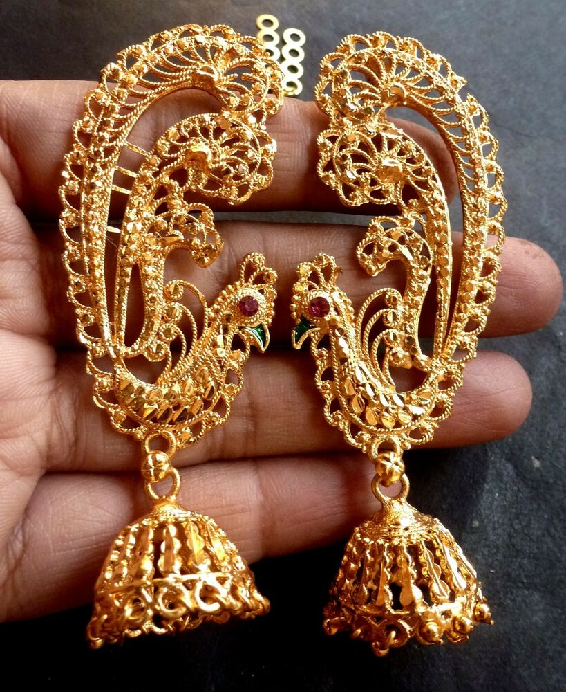 8acc17ac5 Details about 22K Gold Plated Full Ear Earrings Jhumka Gorgeous Wedding  Indian Pakistani Set b