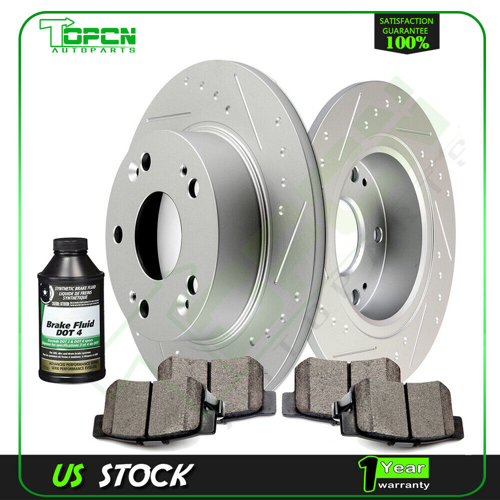 Rear Slotted Brake Rotors Ceramic Pads Fits 2004-08 Acura