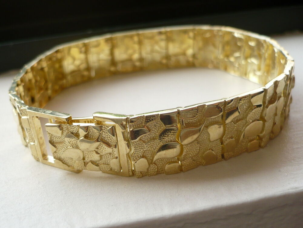 and solid hand gold large in woven yellow bracelet