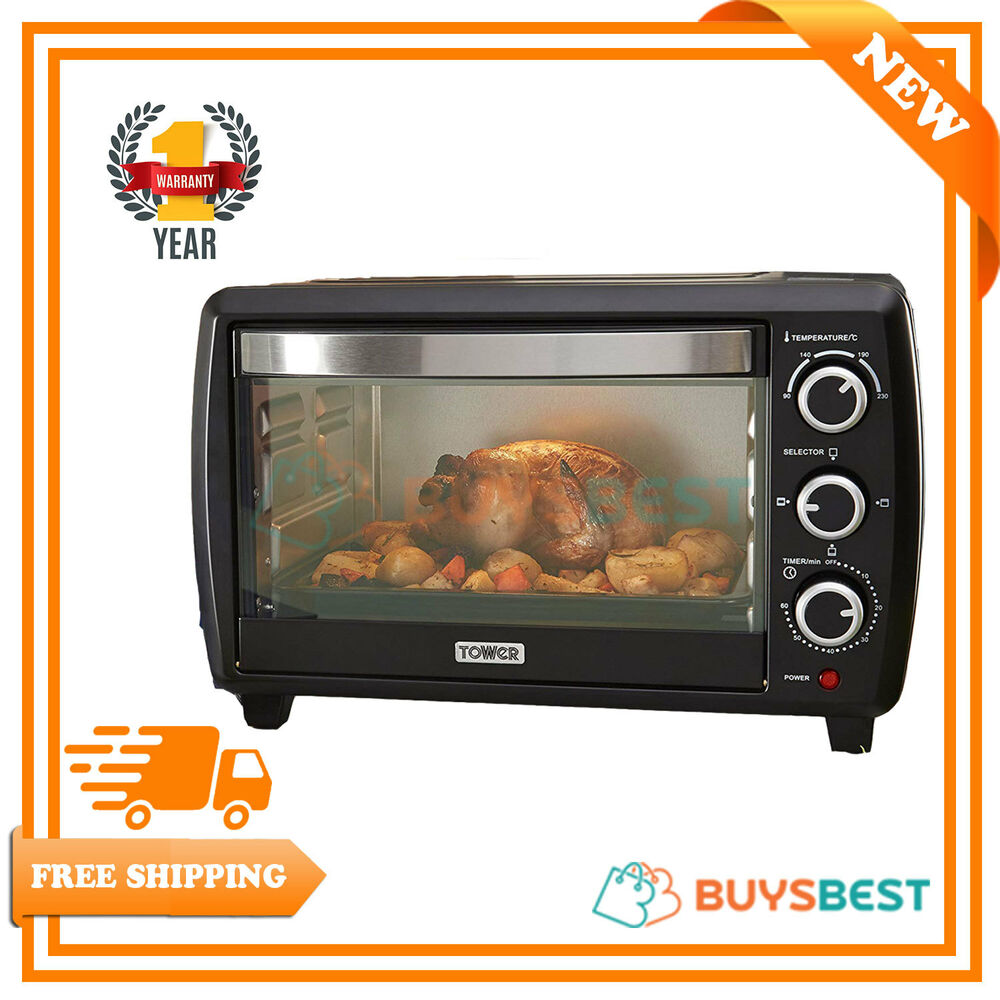 tower mini oven grill 23l 1500w in black 60 minute timer. Black Bedroom Furniture Sets. Home Design Ideas