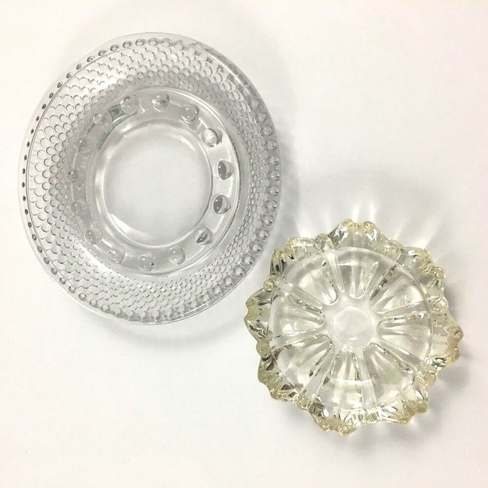 Details about Vintage Round Clear Glass Hobnail Ashtray with Bead & Cut Glass  Ashtray Set of 2