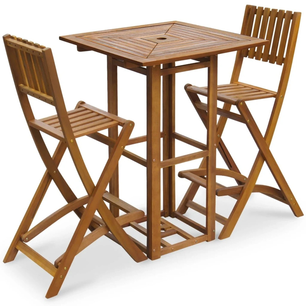 Details about vidaxl patio bar table and chairs set acacia wood outdoor restaurant cafe pub