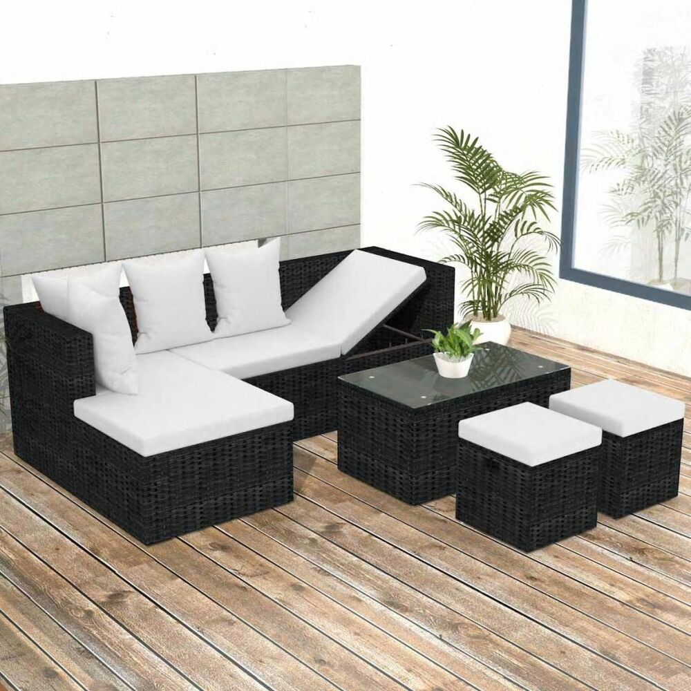 vidaXL Outdoor Corner Sofa Set Wicker Poly Rattan Black Couch Garden ...