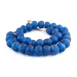 Jumbo Blue Recycled Glass Beads 26mm Ghana African Sea Glass Round Large Hole