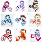 Square Small Neck Women's Fashion Rose Red Printing Office Kerchief scarf Scarve